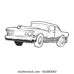 Transportation concept represented by car icon. Isolated and sketch illustration