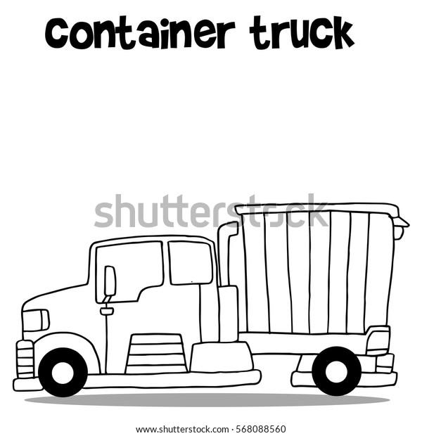 Transportation of container truck cartoon vector illustration