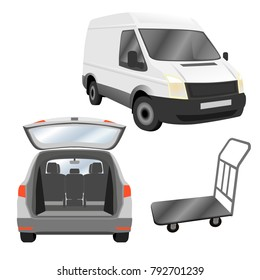 Transportation, deliver, relocation services. ?ommercial utility vehicle and estate car with opened trunk. Vector illustration isolated on white background