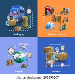 Transportation Delivery Cartoon Icons Set Packaging Stock Vector Royalty Free 298595207