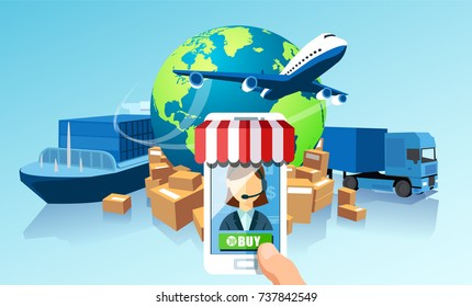 Transportation delivery logistics network via mobile app technology concept. Global shipping of cargo by air trucking rail transportation maritime