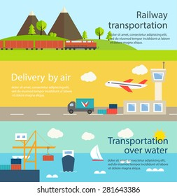 Transportation and delivery web banners set. Railway, over water, by air, vector illustration