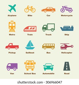 transportation elements, vector infographic icons