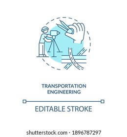 Transportation engineering turquoise concept icon. Planing road, urban infrastructure. Civil engineering idea thin line illustration. Vector isolated outline RGB color drawing. Editable stroke