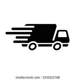 transportation, fast delivery icon, black,  a truck picture speedy, vector