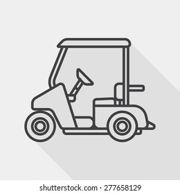 Transportation Golf Cart flat icon with long shadow, line icon