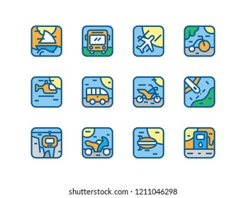 Transportation icon illustration set with yatch, bus, motorcycle, helicopter and others in vector isolated