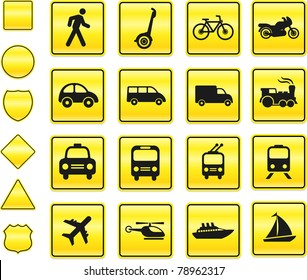 Transportation Icon on Yellow Sign Button Collection Original Illustration