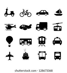 Transportation Icon set Black and White