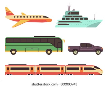 Transportation icon set in flat style.  Illustrations vehicles for travel and tourism. Plane, ship, bus, car and train