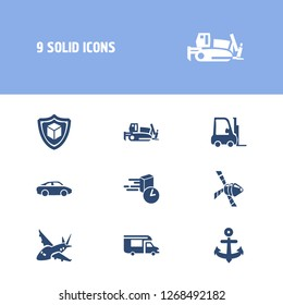 Transportation icon set and forklift with campervan, aircraft and space vehicle. Backhoe related transportation icon vector for web UI logo design.