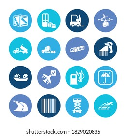 Transportation icon set and forklift with dump truck, suburban and semitruck. Identification product related transportation icon vector for web UI logo design.