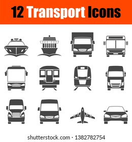 Transportation Icon Set in Front View. Simple Stencil  Design. Vector illustration.