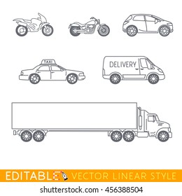 Transportation icon set include Long Semi Truck, City delivery van, Taxi, Crossover, Chopper and Street motorcycle. Editable vector graphic in linear style.