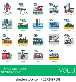 Transportation icon set. Jet pack, uav, motorcycle, scooter, skateboard, skis, horse sled, snowboard, snowmobile, tank, tractor, engine, hyperloop, subway, tricycle, truck, unicycle, campervan.