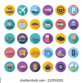 Transportation icon set with long shadow. Vector illustration.