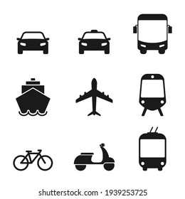 Transportation icon set. Taxi car, airplane, public bus, bike, scooter, trolleybus, train, ship and auto signs. Transport black silhouette collection. Travel concept. Vector isolated on white