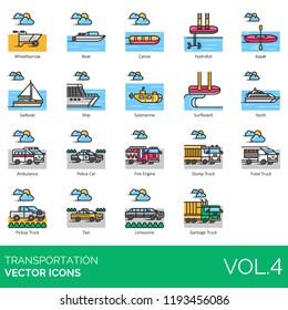 Transportation icon set. Wheelbarrow, boat, canoe, hydrofoil, kayak, sailboat, ship, submarine, surfboard, yacht, ambulance, police car, fire engine, dump truck, pickup, taxi, limousine, garbage.