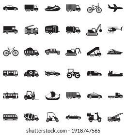 Transportation Icons. Black Flat Design. Vector Illustration.