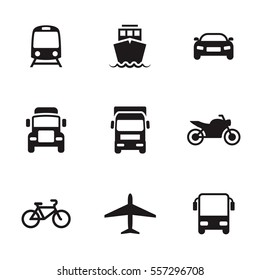 Transportation icons. Black on a white background