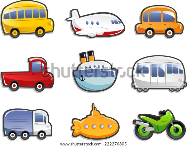 Transportation Icons Bus Plane Car Truck Stock Vector Royalty Free
