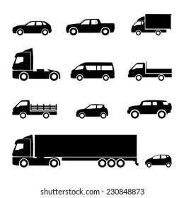 Transportation icons. Cars, trucks, delivery, logistic, transport vector icons