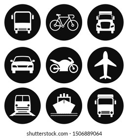 Transportation Icons Collection. Airplane, Public bus, Train, Ship\u002FFerry and auto signs. Shipping delivery symbol. White on a black background