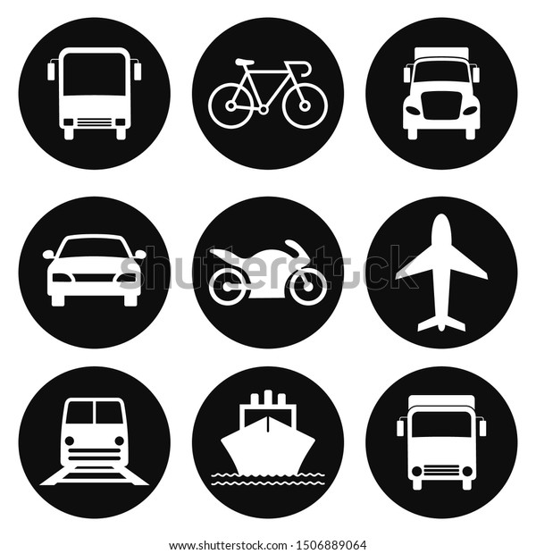 Transportation Icons Collection. Airplane, Public bus, Train, Ship/Ferry and auto signs. Shipping delivery symbol. White on a black background