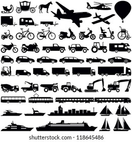 Transportation icons collection - vector silhouette