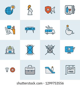 Transportation icons colored line set with minibar, cancellation insurance, no mobile phone and other duty free zone elements. Isolated vector illustration transportation icons.