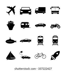 Transportation icons. Flat design style eps 10