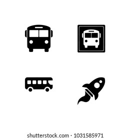 Transportation icons.  Flat symbols. Set icons EPS 10 vector format black and white optimized for both large and small resolutions. Transparent background.