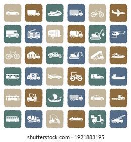 Transportation Icons. Grunge Color Flat Design. Vector Illustration.
