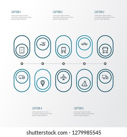 Transportation icons line style set with carriage, way, caravan and other camion elements. Isolated vector illustration transportation icons.