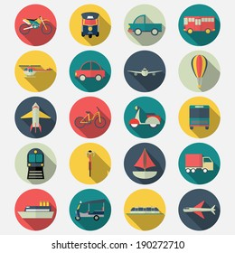 Transportation icons with long shadow effect in stylish