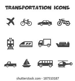 transportation icons, mono vector symbols