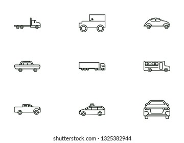 Transportation icons set black color - on a white background