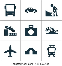 Transportation icons set with car, hump bridge, control and other riverbank elements. Isolated vector illustration transportation icons.