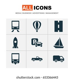 Transportation Icons Set. Collection Of Cabriolet, Truck, Airship And Other Elements. Also Includes Symbols Such As Camion, Way, Wagon.