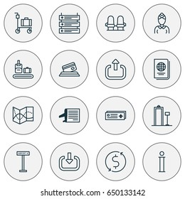 Transportation Icons Set. Collection Of Identification Document, Airport Card, Security Scanner And Other Elements. Also Includes Symbols Such As Hostess, Logout, Seats.