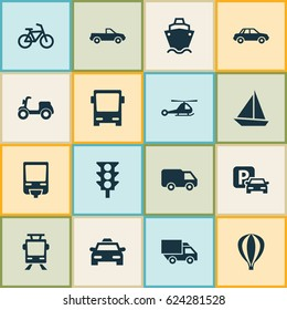 Transportation Icons Set. Collection Of Streetcar, Tanker, Cab And Other Elements. Also Includes Symbols Such As Sail, Airplane, Light.