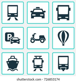 Transportation Icons Set. Collection Of Streetcar, Airship, Omnibus And Other Elements. Also Includes Symbols Such As Car, Moped, Airship.