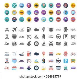 Transportation icons set. Flat vector related different styles icons set for web and mobile applications. It can be used as - logo, pictogram, icon, infographic element. Vector Illustration.