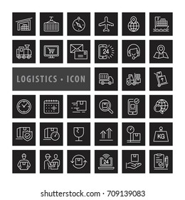 Transportation icons set,  Logistics and delivery objects and elements. Flat line icons modern design style