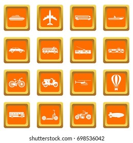 Transportation icons set in orange color isolated vector illustration for web and any design