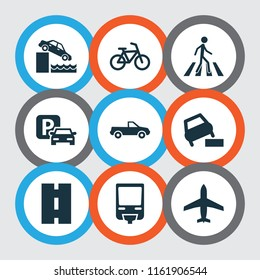Transportation icons set with quayside, zebra crossing, bike and other bicycle elements. Isolated vector illustration transportation icons.