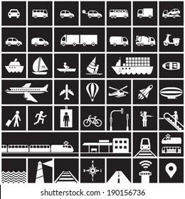 Transportation icons set - road, rail, water, air transport symbols & design elements.High contrast - White on Black