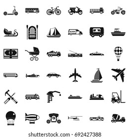Transportation icons set. Simple style of 36 transportation vector icons for web isolated on white background