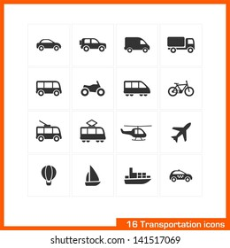 Transportation icons set. Vector black pictograms for business, industry, navigation, web, internet, computer and mobile apps: car, ship, airplane, helicopter, bicycle, motorcycle, tram, truck symbols