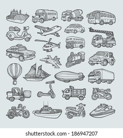 Transportation Icons Sketch (vector). Good use for your website icons, sticker, symbol, or any design you want. Easy to use, edit, or change color.